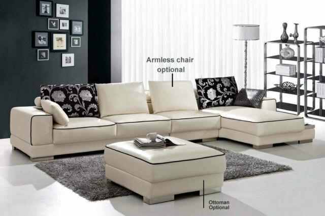 4 piece modern leather sectional sofa set sa3602b