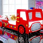 Bed For Twins Fire Truck Bed With Lights Eco Wood Firetruck Bed Set For Kids Red For Sale Online Ebay