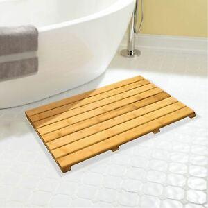 details sur rectangulaire bambou en bois a lattes duck board salle de bain douche tapis afficher le titre d origine
