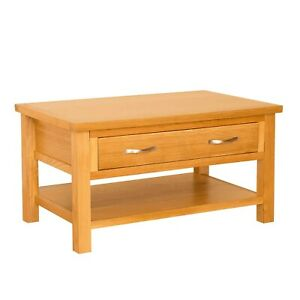 details about small oak coffee table w drawer living room storage newlyn solid wood furniture