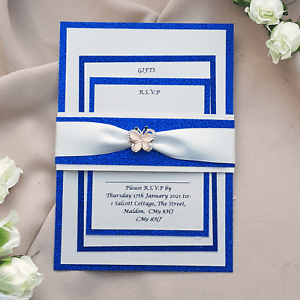 Details About Royal Blue Glitter And Rose Gold Diamante Wedding Invitation Set Erfly Trim