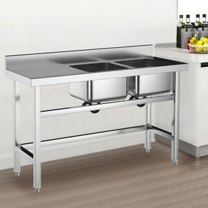 details about stainless steel kitchen sink deep double bowl left hand platform catering table