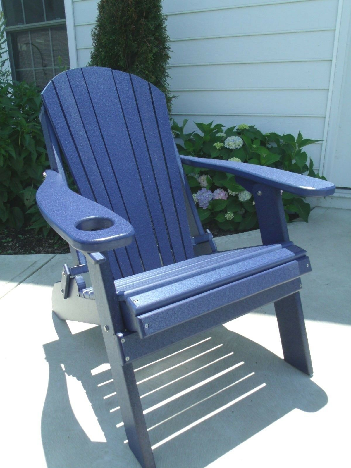 Folding Poly Adirondack Chair With Cup Holder Recycled Plastic Navy Blue