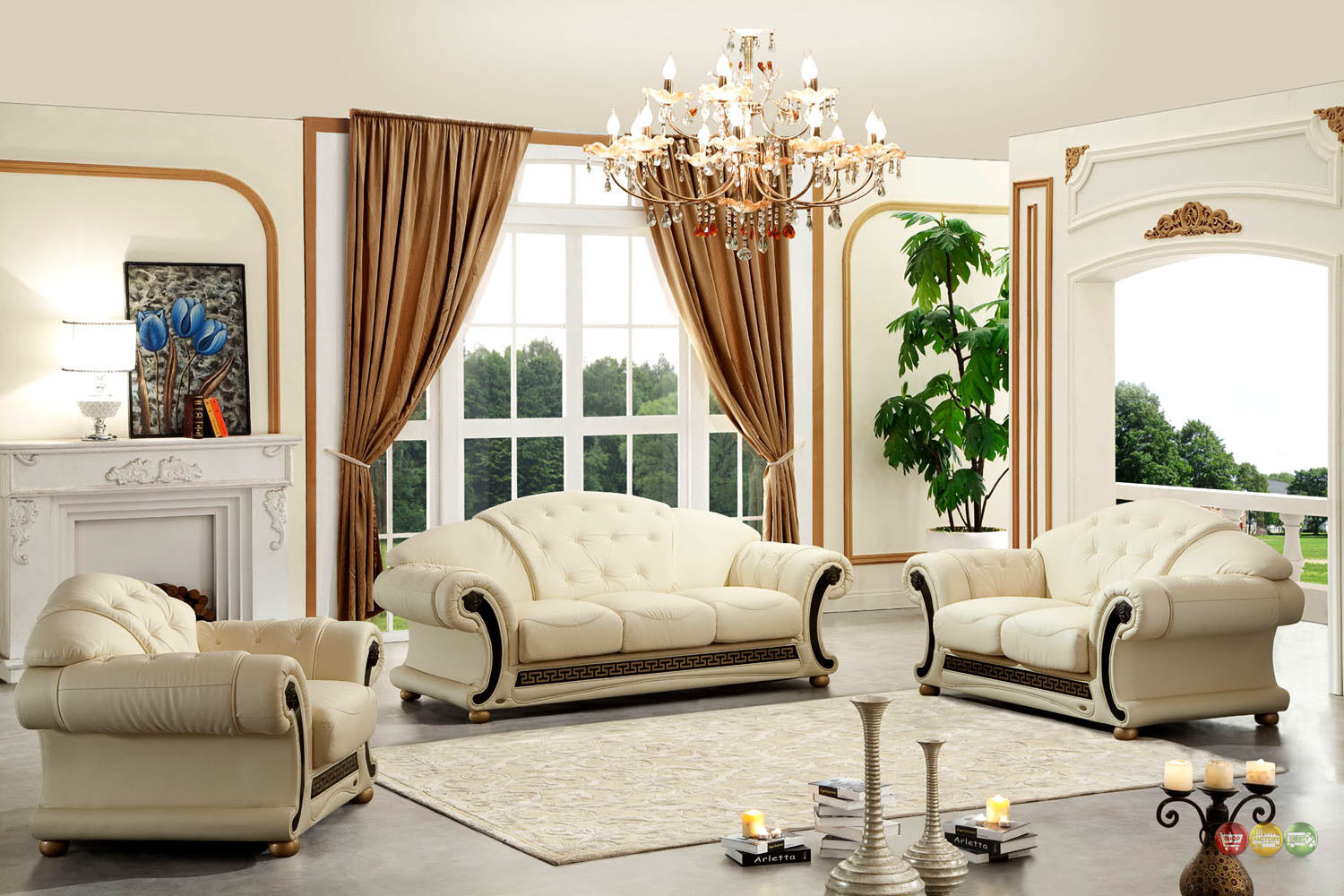 Details About Living Room Sofa Set Ivory Cream 100 Genuine Italian Top Grain Leather Beige
