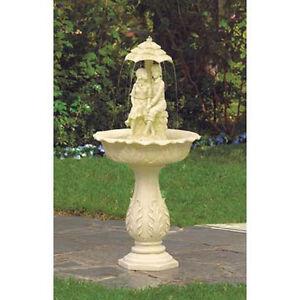 romantic garden fountain romantic boy girl couple under umbrella statue birdbath