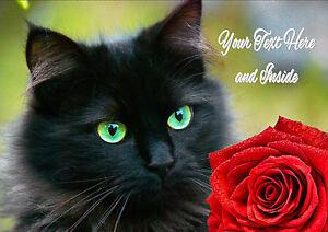 PERSONALISED BLACK CAT KITTEN ROSE BIRTHDAY ANNIVERSARY