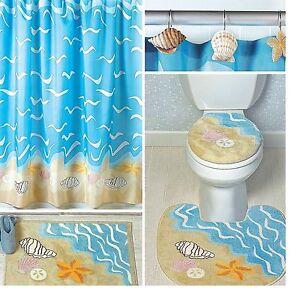 details about seashell shell starfish sand dollar shower curtain bath nautical seaside decor