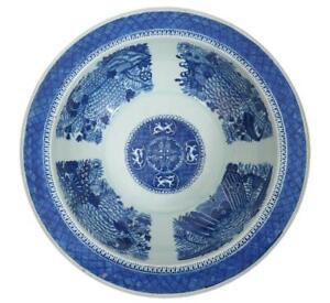 Chinese Export Blue Fitzhugh Huge Basin Bowl 16 Inch Diameter Circa 1810