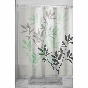 details about new black grey mint green white leaves stems modern design fabric shower curtain