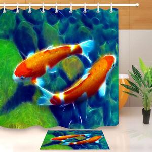 details about carp koi fish garden pond shower curtain set waterproof fabric 12 hooks 72x72