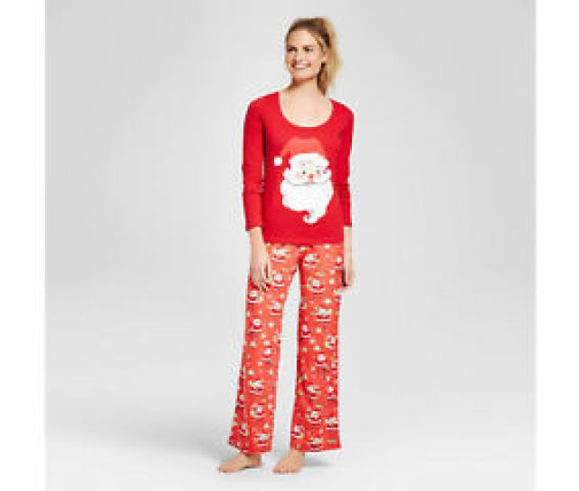 Image Is Loading Nite Munki Munki Womens Ls Santa Top Fleece