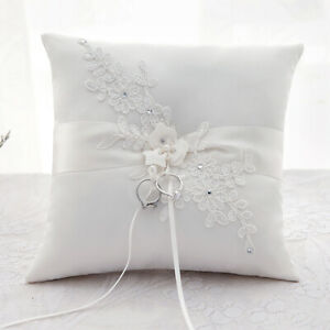 details about uk white ivory ring pillow wedding ring bearer cushion lace flower pearls