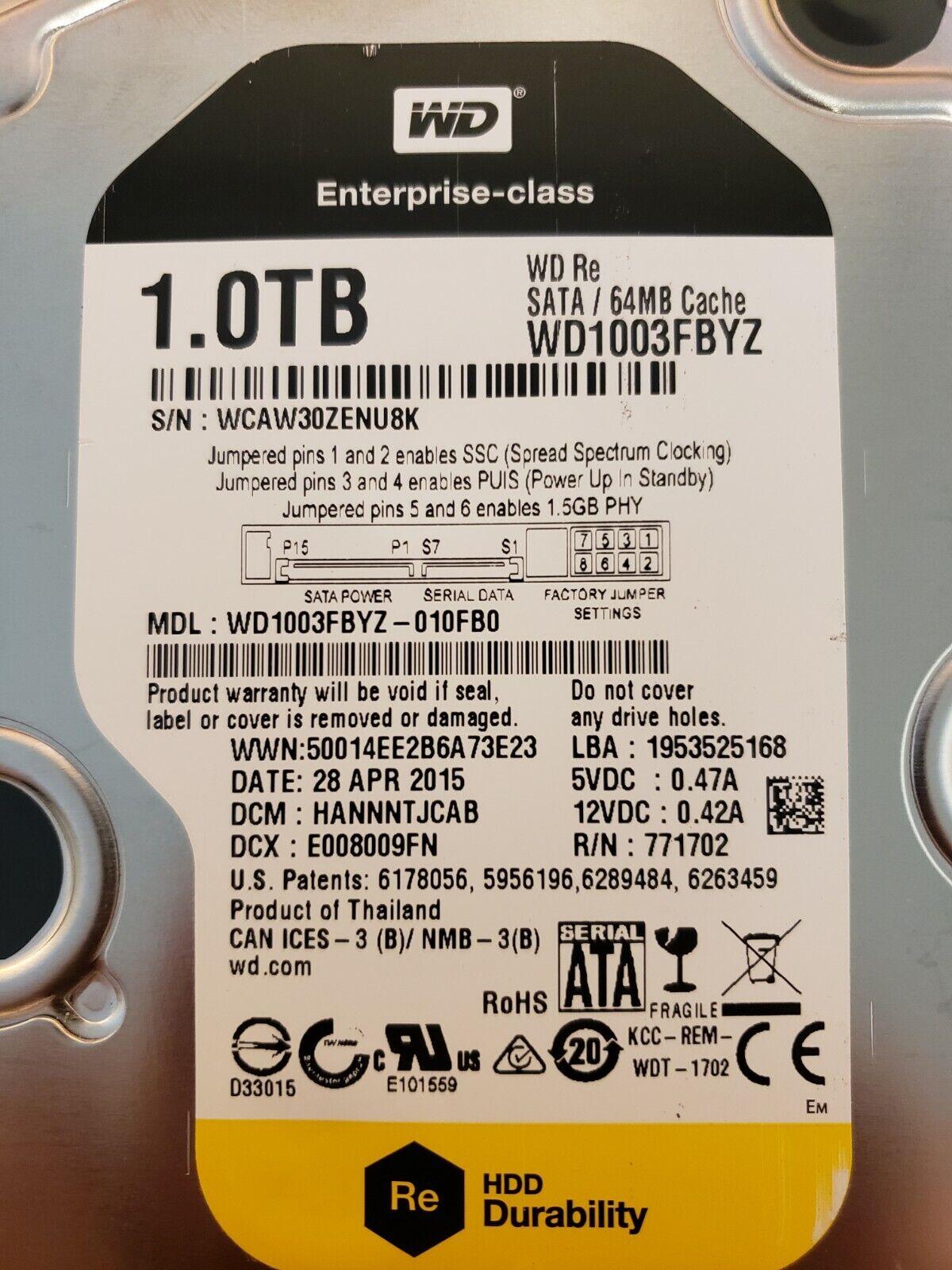Western Digital WD1003FBYZ – WD RE 1TB Hard Drive – Warranty Expires 07/05/2020