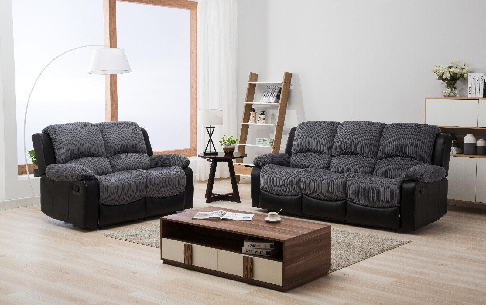 New Marsha Fabric Reclining Sofa Set Black And Grey 3 2 Recliner Sofa Suite