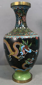 """10"""" Antique CHINESE Flying DRAGON Figural CLOISONNE Old ORIENTAL Table VASE"""