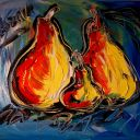 PEARS FAMILY painting Mark Kazav Original Painting no reserve STRETCHED N678O7P