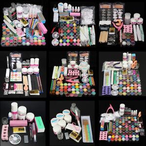 48 Colors Acrylic Powder Liquid Nail Art Set Glitter UV Gel Glue Tips Brush Kits