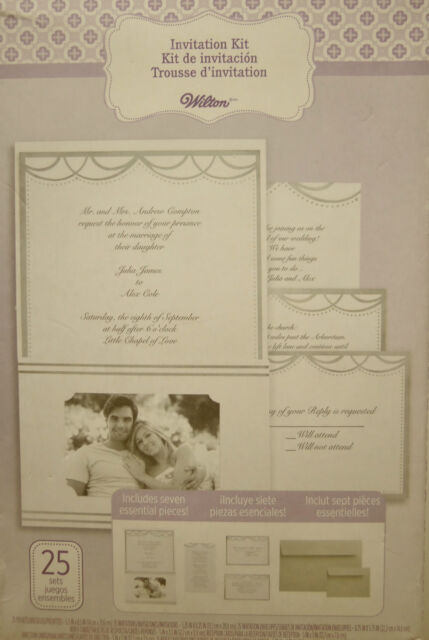 Lot Of 3 Wilton 25 Wedding Invitations Printable Kit 7 Piece Silent Photo