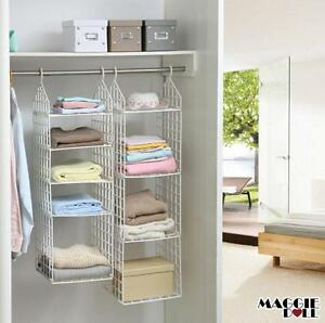 details about wardrobe storage diy hanger hanging closet organizer clothes shelf rack