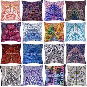 details about large mandala cotton cushion cover 22x22 boho decorative throw pillow case 2 pcs