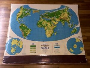VTG Large School Crams Physical Political Map Of The World Pull Down     Image is loading VTG Large School Crams Physical Political Map Of