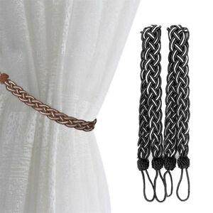 details about 2x braided plain thick satin rope modern curtain tie backs tiebacks holdbacks