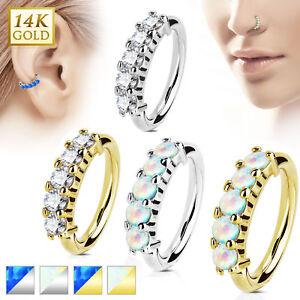 Echt Gold 585 14 Karat Tragus Helix Ohr Stecker Piercing Nasenring Septum Ring