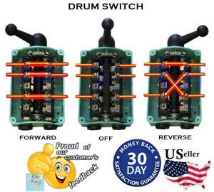 Drum Switch ForwardOffReverse Motor Control RainProof