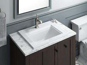 details about kohler 2337 1 0 white memoirs ceramic rectangular drop in bathroom sink w overf