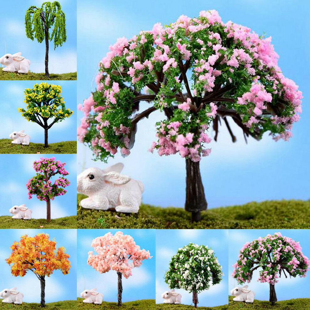 2 Miniature Sakura Tree Plants Fairy Garden Accessory Dollhouse