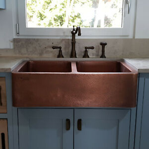 details about double bowl hammered copper kitchen sink antique belfast farmhouse butler style