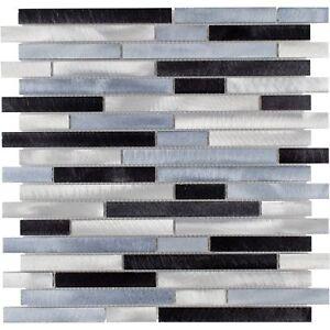 details about modern linear black blue grey metal mosaic tile backsplash kitchen wall mto0285