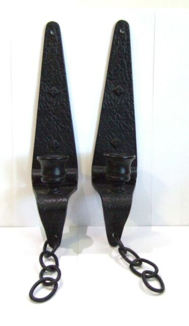 Vintage Cast Iron Black Wall Mount Candle Holders with ... on Antique Wrought Iron Wall Candle Holders id=20548