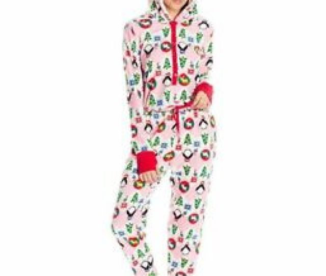Image Is Loading Planet Sleep Women  S Fleece Christmas Pajama