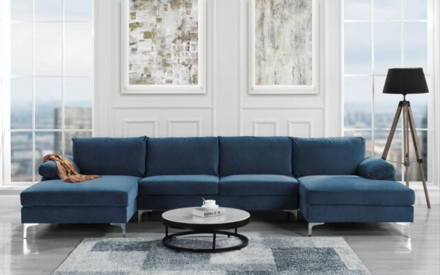 modern large velvet u shape sectional sofa double extra wide chaise lounge navy