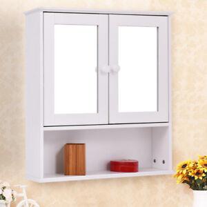 Armoire De Toilette Armoire Murale Avec Portes Et Miroirs Pour Salle De Bains Ebay