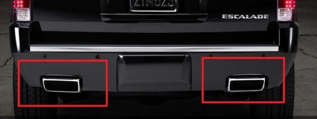 2013 cadillac escalade esv oem dual exhaust tips rear bumper mount
