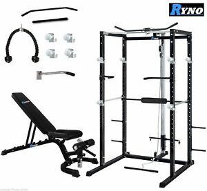details zu ryno ultimate power rack cage with weight bench combo deal squat rack pull up