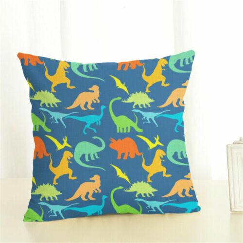 fashion cotton linen dinosaur throw pillow case sofa cushion cover home decor home decor home garden
