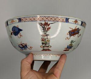 Chinese Antique Porcelain Verte Imari Punch Bowl c18th Precious Object Famille