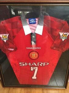 Manchester united 1996/1997/1998 home football shirt jersey #7 cantona. Eric Cantona Manchester United Football Shirt Signed 1996 ...
