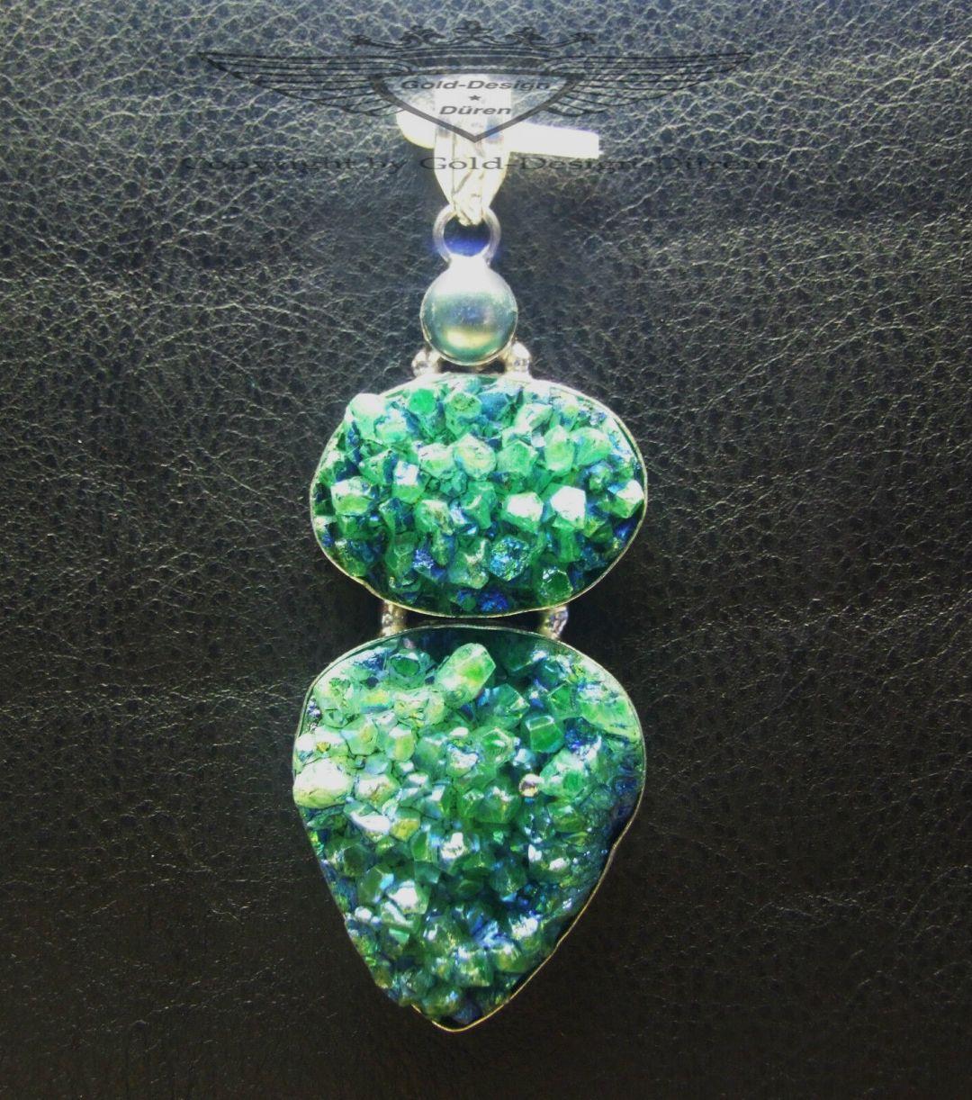 Kettenanhänger, Anhänger, Blau- Grün mehrfarbig, Titanium Druse, 925 Silber
