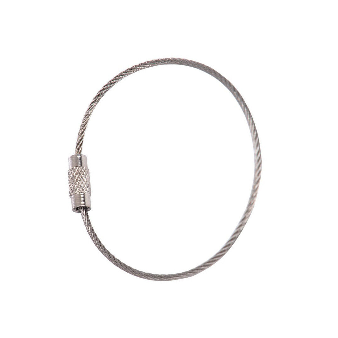 5 X Stainless Steel 15cm Wire Keychain Cable Key Ring