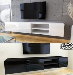 details sur meuble tv lowboard haute brillance modern bas armoire blanc weiss couleurs 180 cm