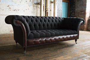 Image Is Loading Modern Charcoal Wool Amp Dark Brown Leather 3