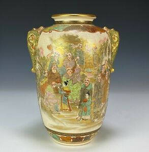 Large Antique Japanese Satsuma Pottery Vase with Painted Landscapes