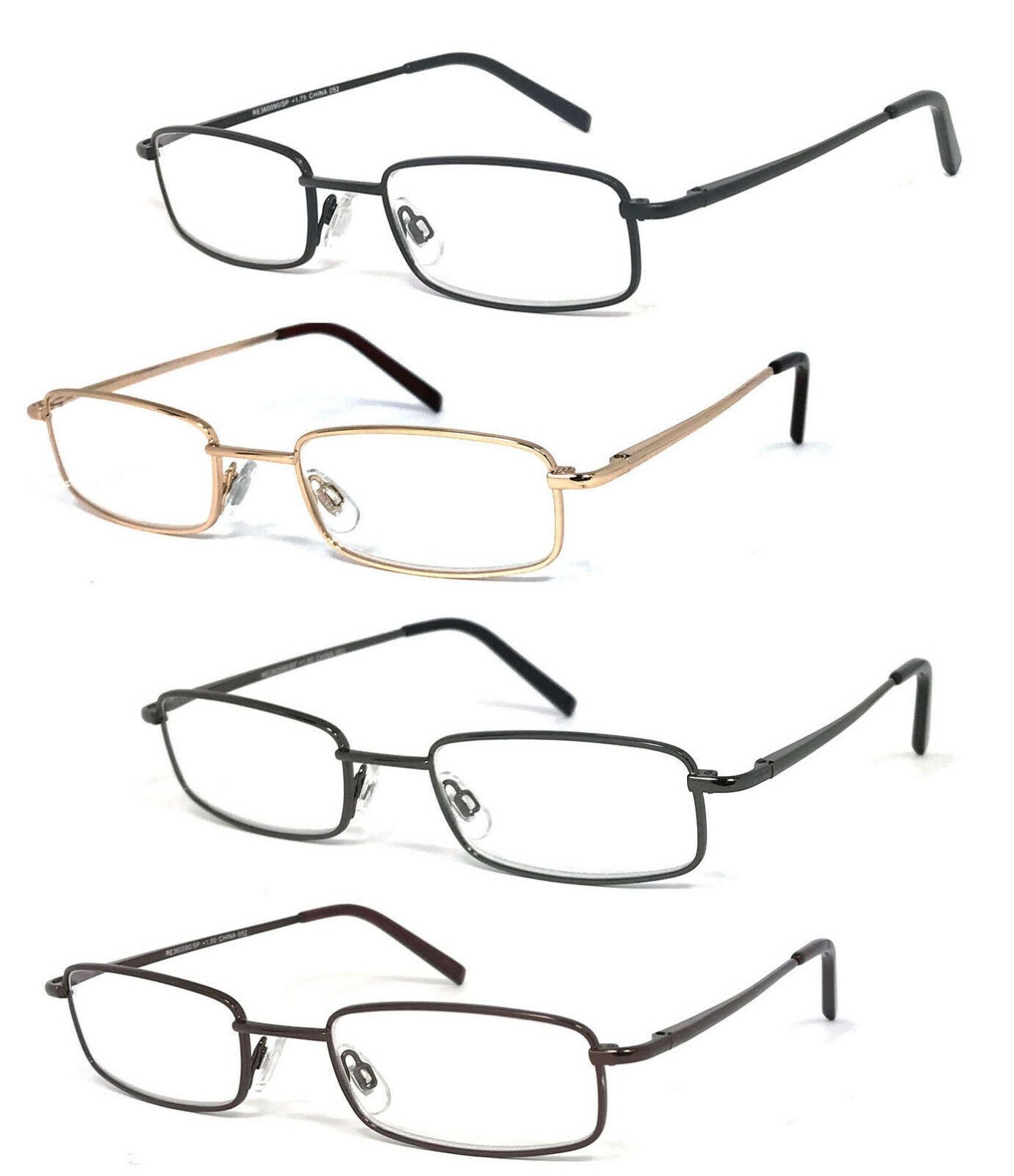 Retro Rectangle Reading Glasses Metal Frame Spring Hinges