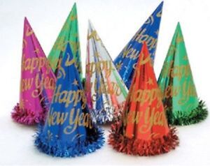 """6 Assorted Color 9"""" Foil Hats with Tinsel Metallic Party ..."""