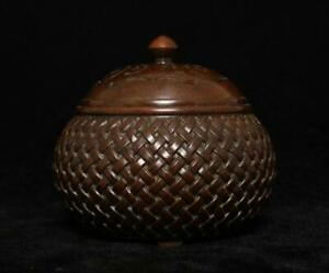 Qianlong Signed Old Chinese Bronze or Copper Incense Burner w/lid