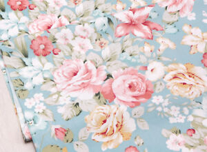 details about roses fabric 100 cotton vintage shabby chic blue floral material by the metre